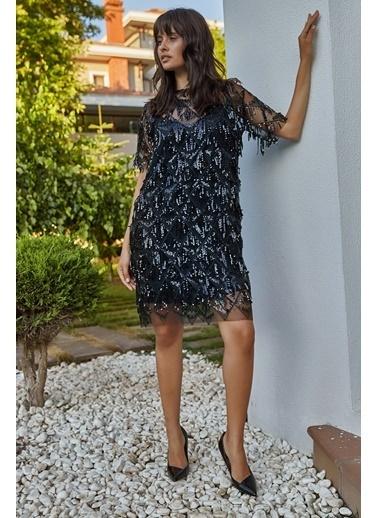 Matmazel Pul Paletli İçi Astarlı Elbise Siyah